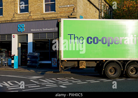 Co-op store and delivery lorry, Slaithwaite,West Yorkshire, England UK - Stock Image