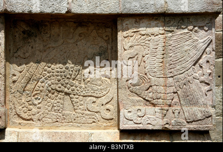 Detail of Eagle and Jaguar Carvings on the Platform of the Eagles and Jaguars, Chichen Itza, Yucatan Peninsular, - Stock Image