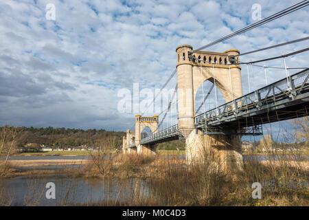 Multi-span suspension bridge across de Loire river near Langeais, Indre-et-Loire, France - Stock Image