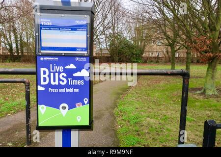 Live bus times - hi tech public transport in Suffolk, UK. December 2018. - Stock Image