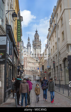 View on the bell tower or belfry of the Chamber of Commerce in as seen from Rue Lepelletier in Lille, France - Stock Image