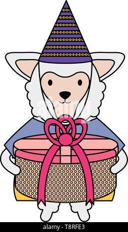 beautiful lamb with gift box in birthday party vector illustration design - Stock Image