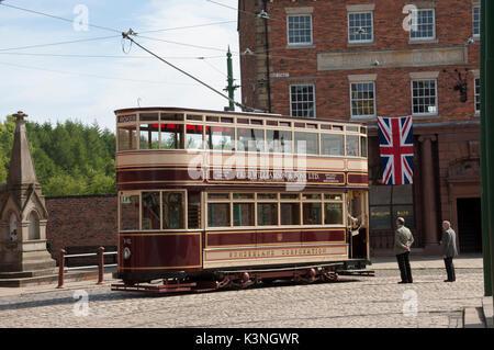 Sunderland Tram at Bemish Museum -2 - Stock Image
