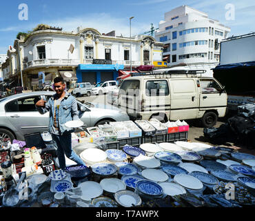 Central marketplace in the end of Boulevard Mohammed-V in Casablanca. - Stock Image