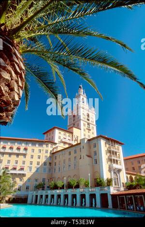 Coral Gables Miami Florida Biltmore Hotel Giralda Tower pool - Stock Image