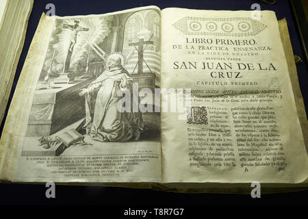 Book of San Juán de la Cruz. Museum in Úbeda, Jaén, Andaluisa, Spain. - Stock Image