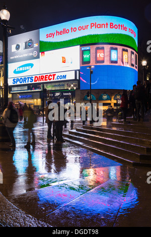 Piccadilly Circus at night London - Stock Image