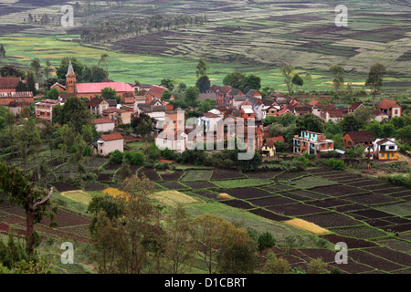 View of Tritriva and the Surrounding Countryside from Lake Tritriva, Madagascar, Africa. - Stock Image