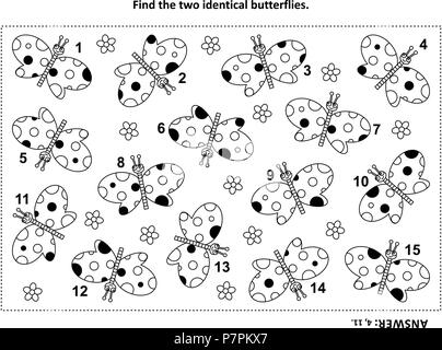 IQ training find the two identical butterflies visual puzzle and coloring page. Answer included. - Stock Image