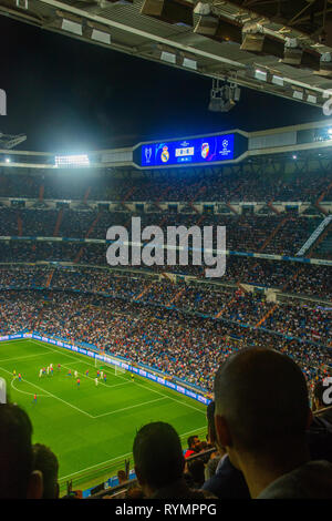 Champions League football match. Santiago Bernabeu stadium, Madrid, Spain. - Stock Image