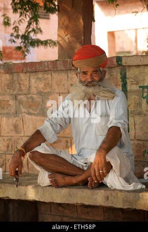 Rajasthani man in turban, Jodhpur,  Rajasthan, India - Stock Image