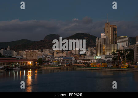 Port Louis waterfront at dusk Mauritius - Stock Image