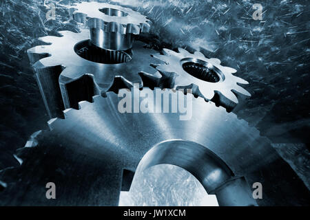 gears and bearings made of titanium, aerospace parts and engineering - Stock Image