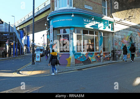 Wahaca Street Food Mexican restaurant on Atlantic Road and Electric Lane in Brixton South London UK  KATHY DEWITT - Stock Image