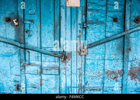 Blue doors in Mauritius - Stock Image