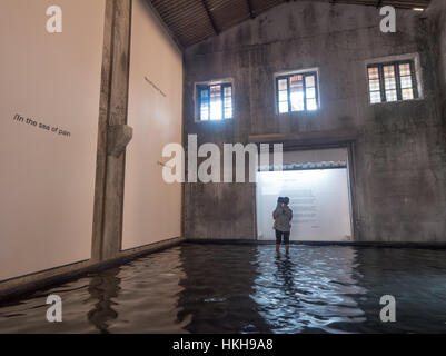 The Sea of Pain by Raul Zurita Aspinwall House at Kochi-Muziris Biennale in India - Stock Image