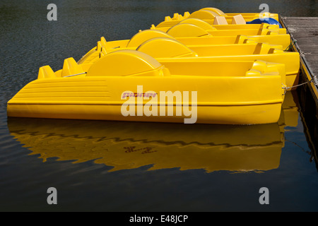 Yellow pioner leisure boats moored at landing stage on a lake. - Stock Image