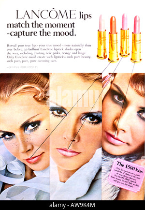 1960s Nova Magazine October 1968 Advertisement for Lancome Lipstick FOR EDITORIAL USE ONLY - Stock Image