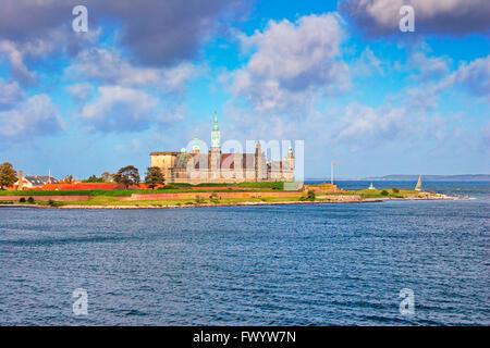The Renaissance castle Kronborg in Helsingør seen from a boat crossing Øresund. - Stock Image