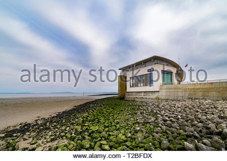 The RNLI Lifeboat Station at Morecambe, Lancashire, England, UK, base for a hovercraft that covers Morecambe Bay - Stock Image