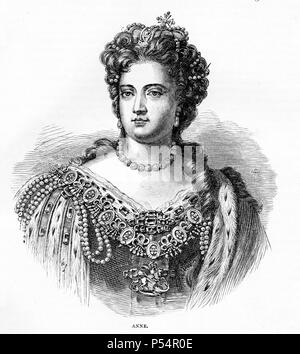 Portrait of Anne, Queen of Great Britain, from Cassell's History of England King's Edition Part 29 - Stock Image