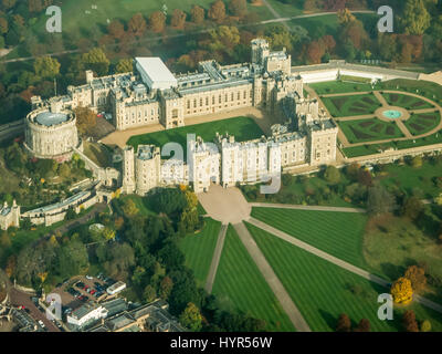 Overhead view of Windsor Castle - Stock Image