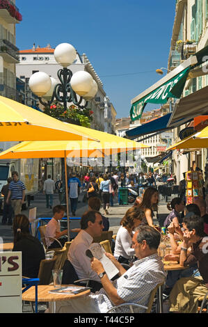 Nice Cote dAzur France - Coffee at a sidewalk cafe - Stock Image
