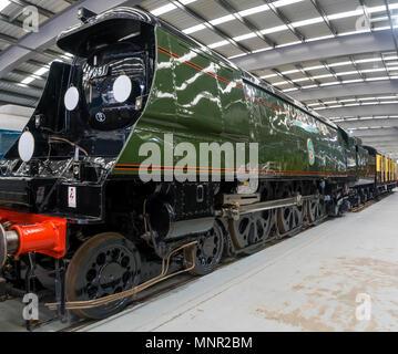 Ex Southern Railway Battle of Britain Class Winston Churchill main line steam locomotive number 34051 at NRM Locomotion Shildon Co. Durham England UK - Stock Image