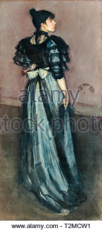 James McNeill Whistler, Mother of Pearl and Silver: The Andalusian, painting, c. 1888 - Stock Image