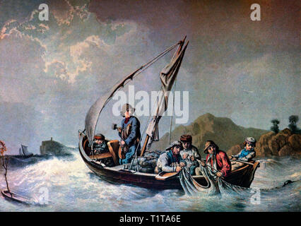 Fishing for herring in the 19th Century in the Kattegat off the provinces of Västergötland, Scania, Halland and Bohuslän in Sweden. The Baltic Sea drains into the Kattegat through the Danish Straits. - Stock Image