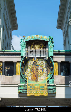 Anker Clock Vienna, view of the Anker Clock (Ankeruhr), a huge art nouveau clock sited in Hoher Markt in the Innere Stadt area of Vienna, Austria. - Stock Image