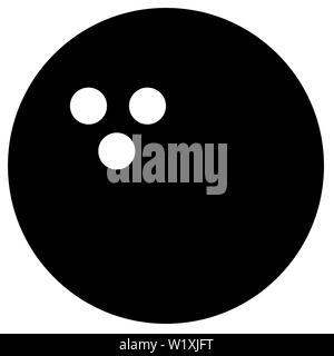 bowling ball sport object shape play black illustration - Stock Image