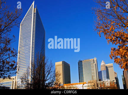 Downtown skyscrapers in Charlotte, North Carolina, NC. Duke Energy Center to the left. - Stock Image