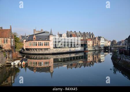 Buildings on the River Scheldt in Ghent, Belgium - Stock Image