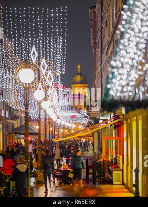 Christmas illumination Korzo main street in Rijeka in Croatia - Stock Image