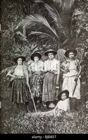 Mulatto women workers on a sugar plantation, Martinique, West Indies (then a French colony). - Stock Image