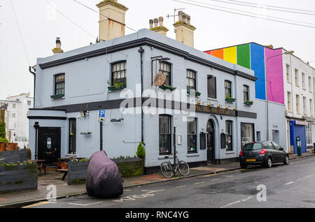 The quirky Mad Hatter pub in Kemp Town Brighton UK Photograph taken by Simon Dack - Stock Image