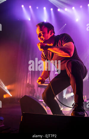London, UK. 31st March, 2015. Gerrit Welmers lead singer of Future Islands, Live Performance at Roundhouse, Camden. - Stock Image