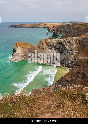 Looking down onto the North Cornwall coastline at Bedruthan Steps - Stock Image
