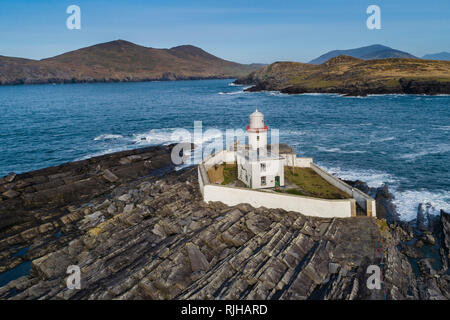 Valentia Island Lighthouse at Cromwell Point, County Kerry, Ireland - Stock Image