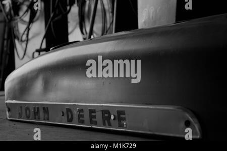 old John Deere tractor hood - Stock Image