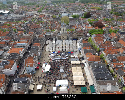 Delft, The Netherlands - April 27, 2019: The Kings official birthday known as Koningsdag in the Netherlands. The monarch's birthday is a national ho - Stock Image