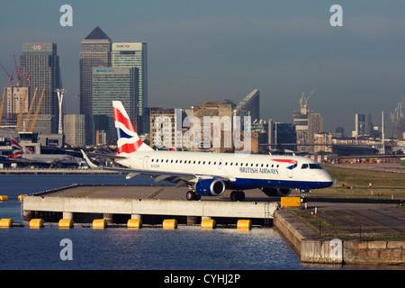 Regional airliner British Airways (BA CityFlyer) Embraer ERJ-190-100LR 190LR at London City Airport, England, UK - Stock Image