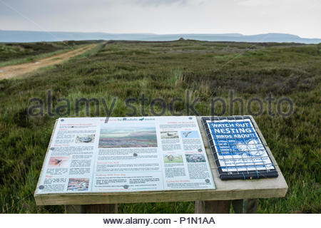Countryside information board at Round Hill near Bransdale Moor  on the Cleveland Way national trail in the North York Moors, North Yorkshire - Stock Image