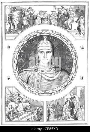 Henry V, 1081 - 1125, Historical illustration, 19th century, Heinrich V. ( 1081 - 1125) aus der Salier-Dynastie - Stock Image