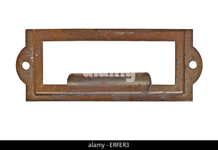 vintage heavy patina brass label name pull plate, clipping path, space for your text - Stock Image