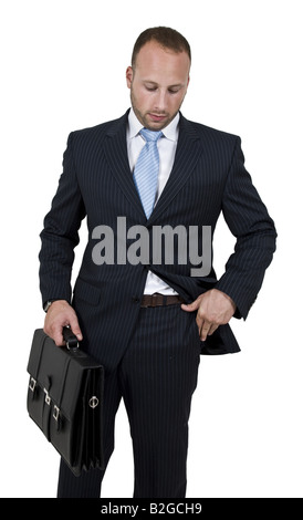 businessperson with briefcase on isolated background - Stock Image