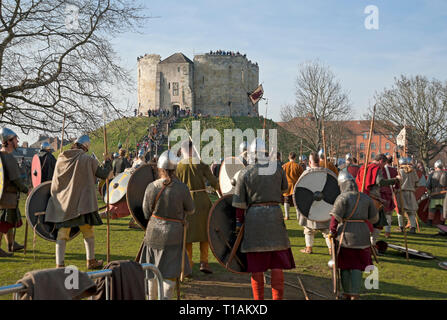 Vikings and Anglo Saxons at the Viking Festival Clifford's Tower York North Yorkshire England UK United Kingdom GB Great Britain - Stock Image