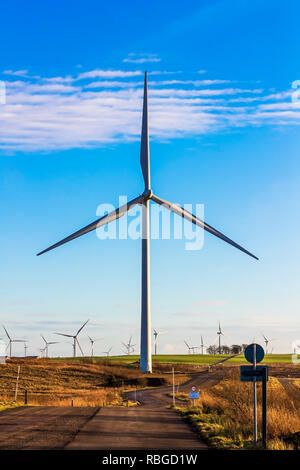 Whitelee wind farm, owned by Scottish Power renewable, a part of the Spanish company Iberdrola, is the largest onshore wind farm in the UK - Stock Image