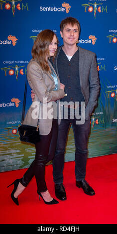 London, United Kingdom. 16 January 2019. Hannah Tointon & Joe Thomas arrives for the red carpet premiere of Cirque Du Soleil's 'Totem' held at The Royal Albert Hall. Credit: Peter Manning/Alamy Live News - Stock Image